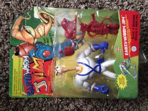 Earthworm Jim Earth Worm playmates 1995 spring loaded head!!