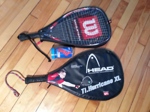 Pair of racquetball racquets and balls