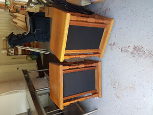 2 mahogany finish speakers