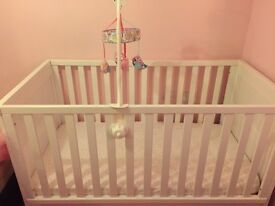 Hampshire cot bed £160 mattress and mobile included