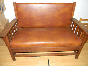 Antique Mission Style Bench, Chair & Rocker