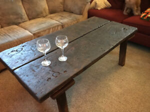 One of a kind 200 yr old butcher block coffee table