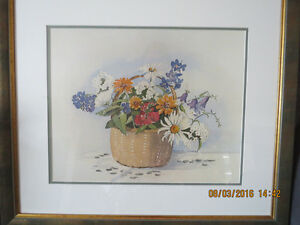 Frances Turner floral watercolour mounted and framed