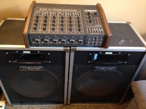 TRAYNOR MIXER P.A. WITH TRAYNOR SPEAKER CABINETS