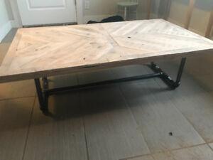 Chevron style whitewashed steel pipe leg coffee table