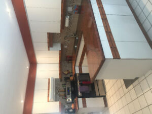 Cupboards and granite counters