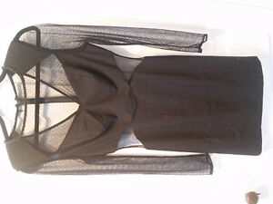 Guess sheer panel black dress size 8