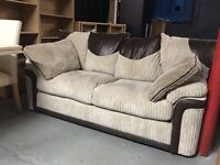 Brown beige cord fabric 2 seater sofa two settee couch chair