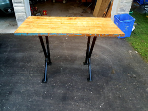 Refinished solid butcher block maple industrial table