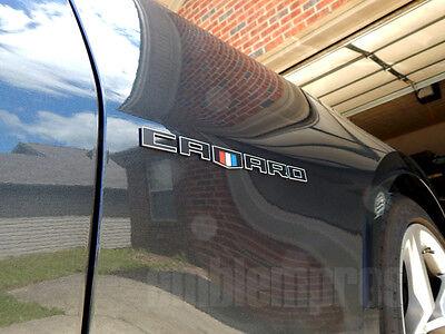 "GM LICENSED, SHIELD ""CAMARO"" FENDER SCRIPTS LETTERS EMBLEMS 2-TONE COLOR FOR CAR"