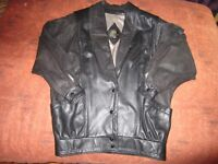 WOMAN'S LEATHER 3/4 BOMBER JACKET