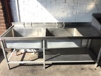 DOUBLE BOWL COMMERCIAL STAINLESS STEEL SINK - VERY HEAVY DUTY - WITH DRAINER AND TAPS