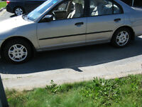 2002 HONDA CIVIC 4 DR 5 SPD MVI TILL JULY 2016 $1000 OBO