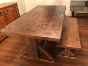 NEW SOLID WOOD TABLE AND BENCH