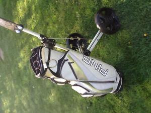 Ping golf bag and cart