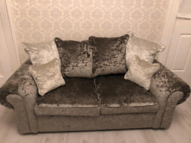 Grey velvet 3 & 2 seater sofa bed set