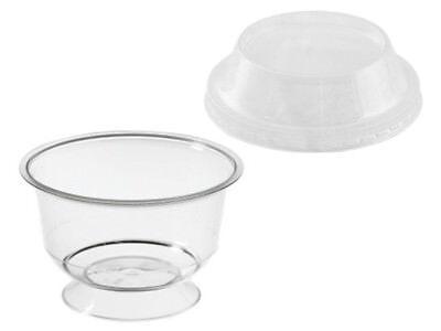 25 Dessertbecher 150 ml mit Fuß und Domedeckel Cupschale Eis (285150+285152)