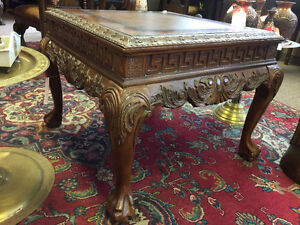 Hand carved solid wood Victorian coffee table with claw feet