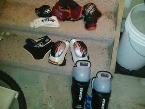 hockey shin pads and elbow pads