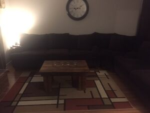 Brown Putty Chenile 3 Piece Sectional - MINT Condition