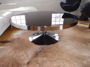 Large Modern Glass and Chrome Coffee Table