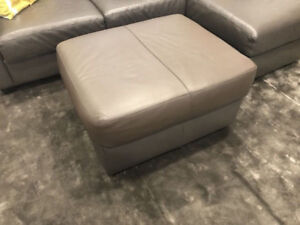 Grey Leather Ottoman (foot stool or coffee table) - $75 OBO