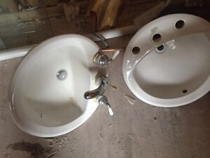 Bathroom sinks with tapes
