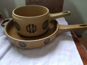 Mid century modern danish flame frost pot and pan