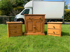 Solid heavy pinewood cupboard £40 2 pinewood lockers £20 each