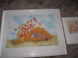 White framed Winnie the Pooh pictures