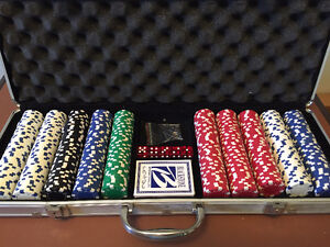 Poker chip set in lockable case with cards, dice, and keys