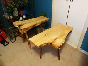 Solid Wood Live Edge Side Tables
