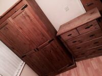 Wardrobe and chest of drawers solid Mexican pine set