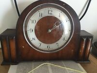 Antique Wood Mantel / Fireplace Clock