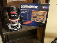 Master craft 900 Router with New Case of  36 Mastercraft Bits