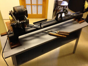Wood lathe support
