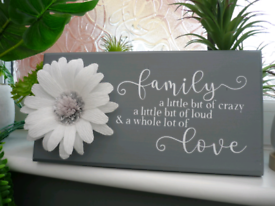 Handmade Grey family floral sign