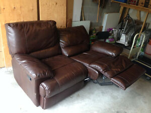 Recliner sofa (maybe leather?) couch