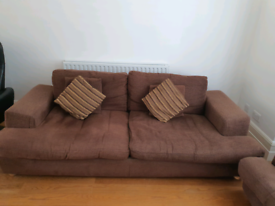 Brown Fabric Sofa Set with 1x 4 seater and 2x love seats