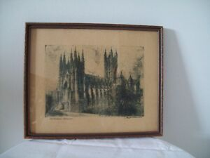 ANTIQUE CATHEDRAL PRINT IN GREEN/  AND PINE INTERESTING FRAME