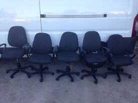 9 x Black office swivel chairs. Delivery.