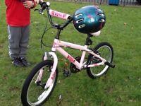 "Apollo Kinx Pink Girls BMX Bike - 18"", in excellent condition with helmet"