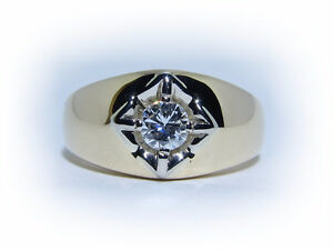 Men's 0.41ct Solitaire Diamond 14kt Gold Ring Appraised at $3350