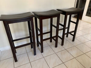 3 rich espresso leather wood base bar stools