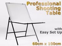 Portable Studio Set Up / Shooting Table for Product & Still Life Photography 60x100cm, Matt + Glossy