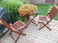 wood folding chairs and table with trey