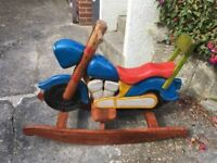 Wooden Motorcycle Rocking Horse Very Unique
