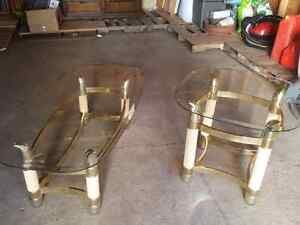 Coffee and end table brass