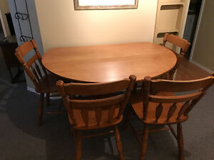 Solid Maple Dining Set with 4 Chairs
