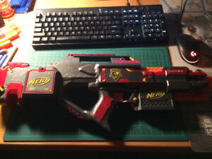 Modified NERF Stryfe with NERF Rayven stock Integration